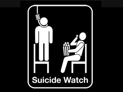 На рисунке майки Suicide watch показано все, что нужно для хорошего шоу...
