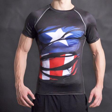 Captain America Alter Ego Compression Black Shirt